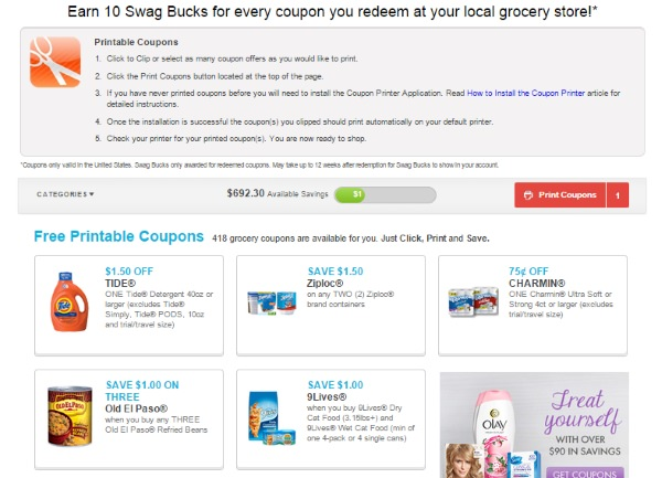 Swagbucks printable coupons