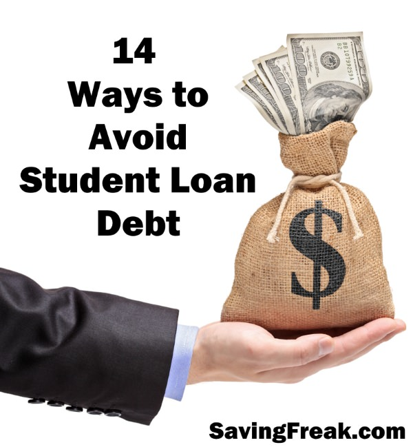 avoid student loans hand with bag of money