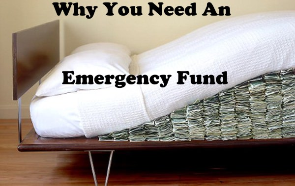 mattress with money underneath and text why you need an emergeny fund