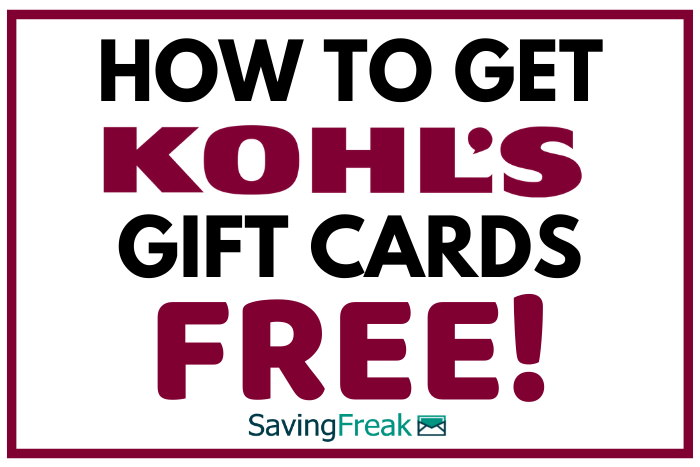 how to get free kohls gift cards